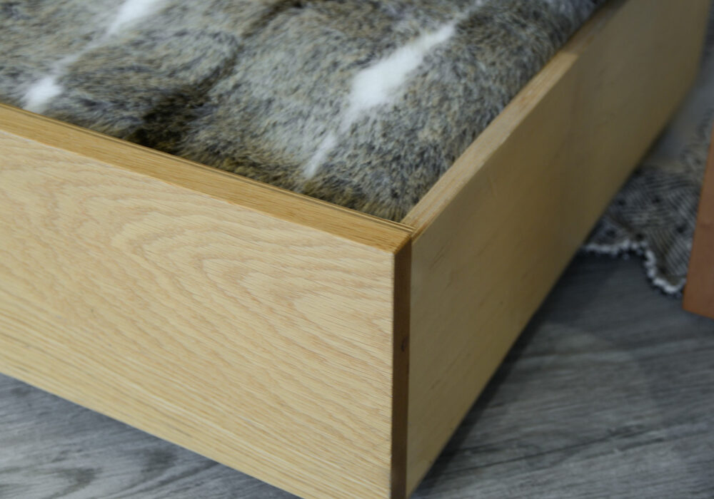 wheeled underbed storage drawer with oak front panel