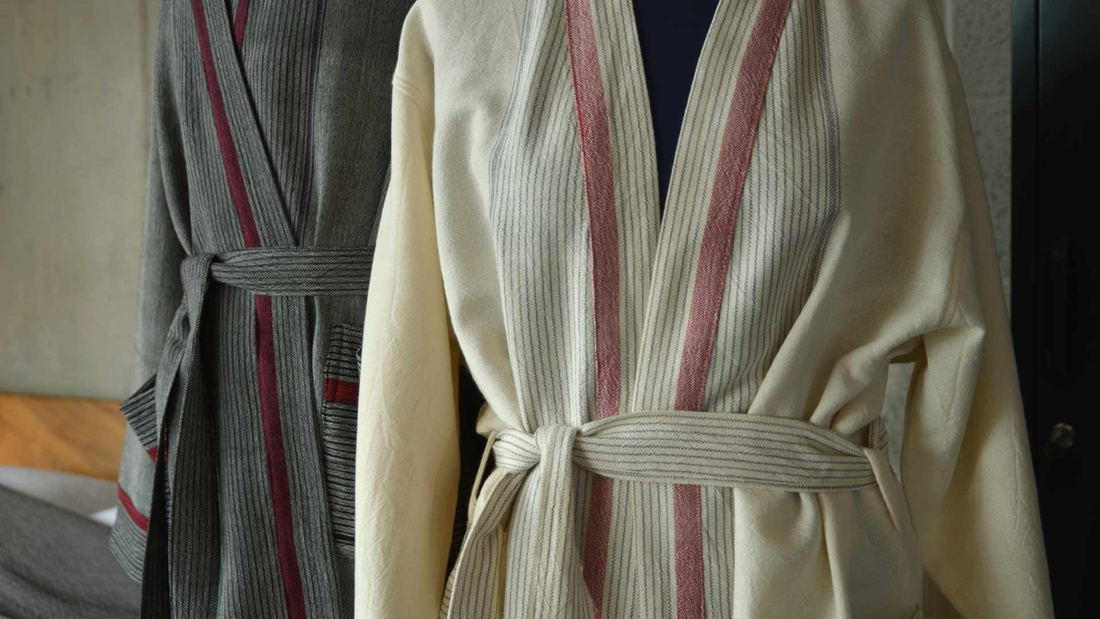 unisex cotton robes in grey and ivory