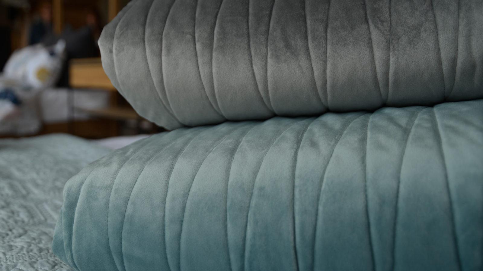 Reversible velvet look bedspreads
