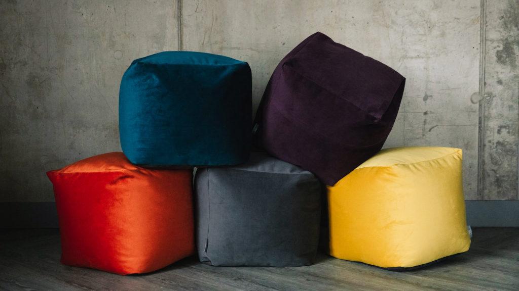velvet cube stools in 5 jewel colours