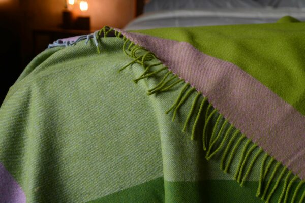 green and blue colour block throw