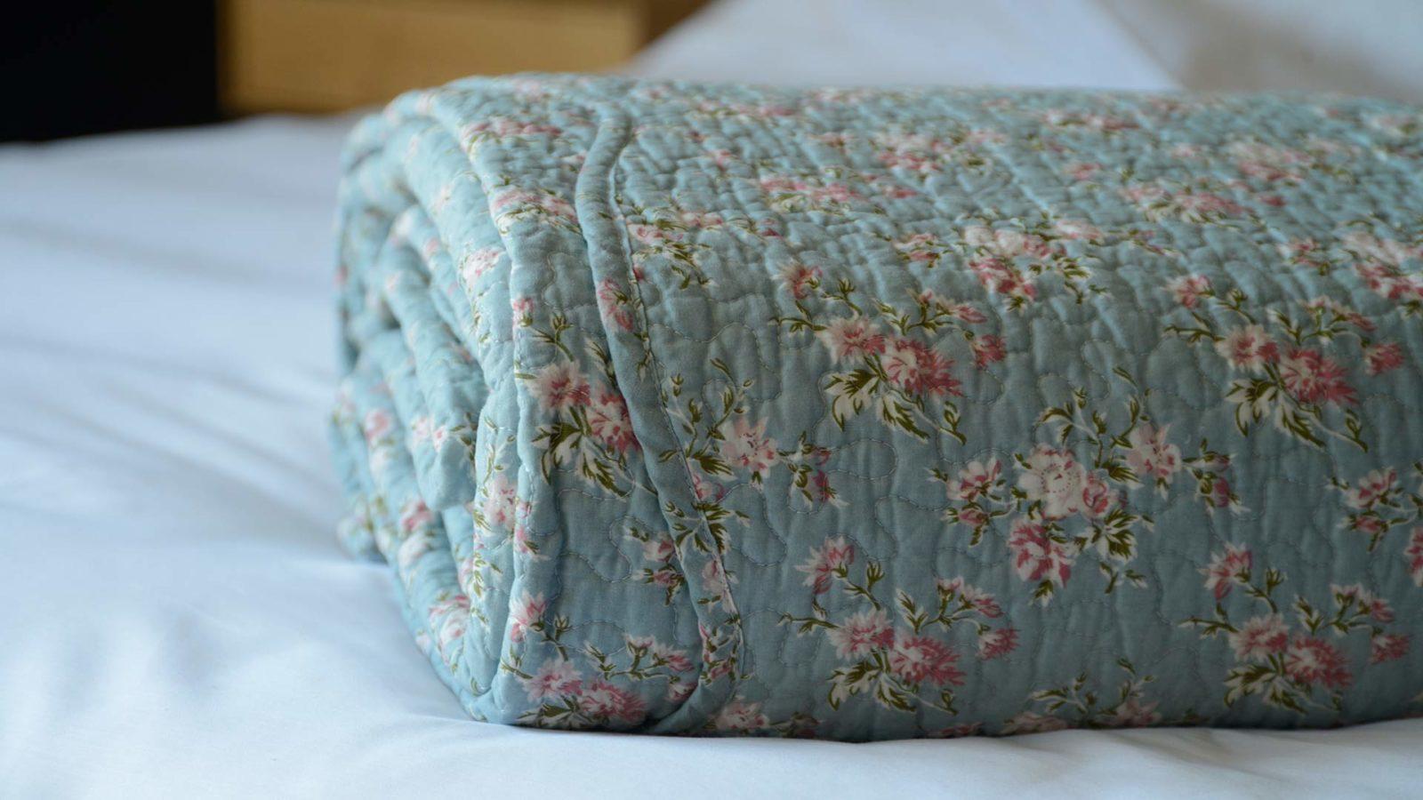 cosy blue bedspread