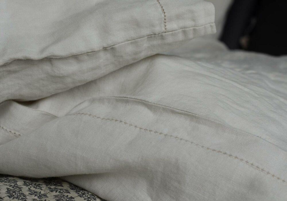 vintage wash-linen-limestone-bedding-closeup