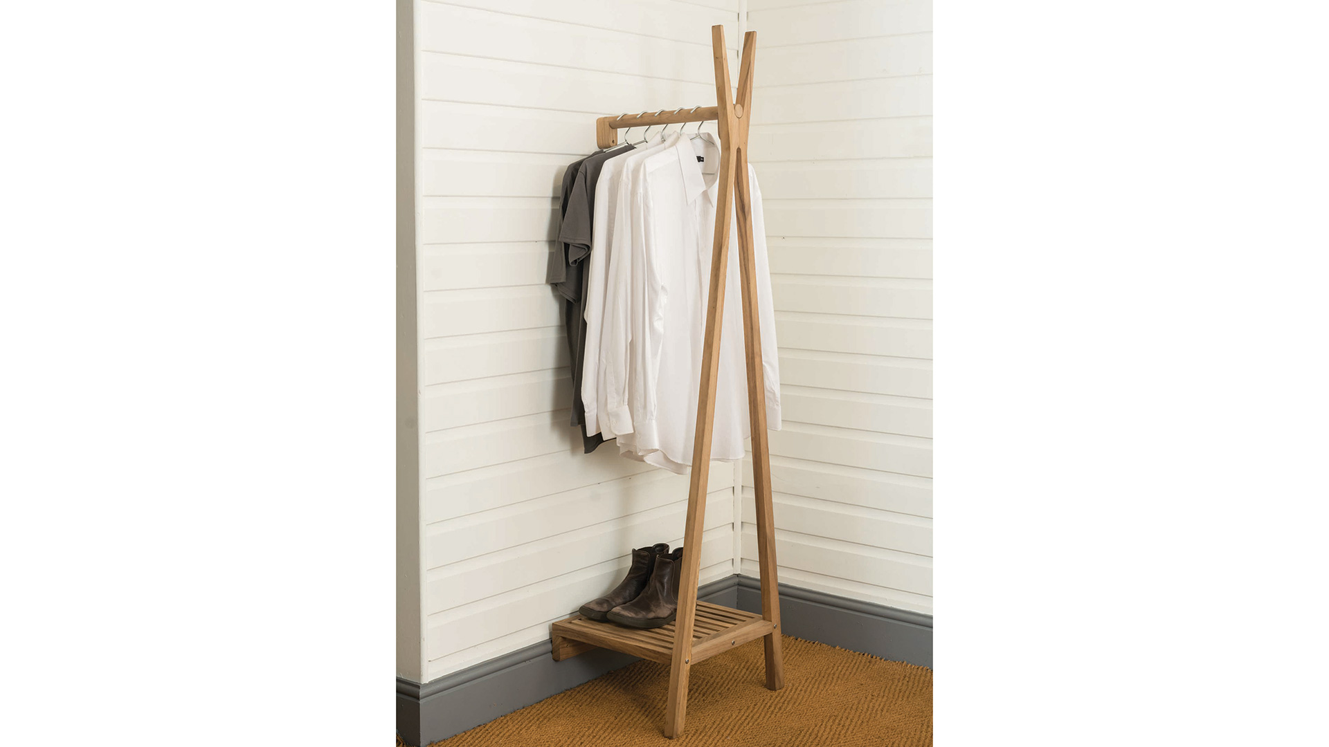 Wall Mounted Wooden Clothes Rails Natural Bed Company