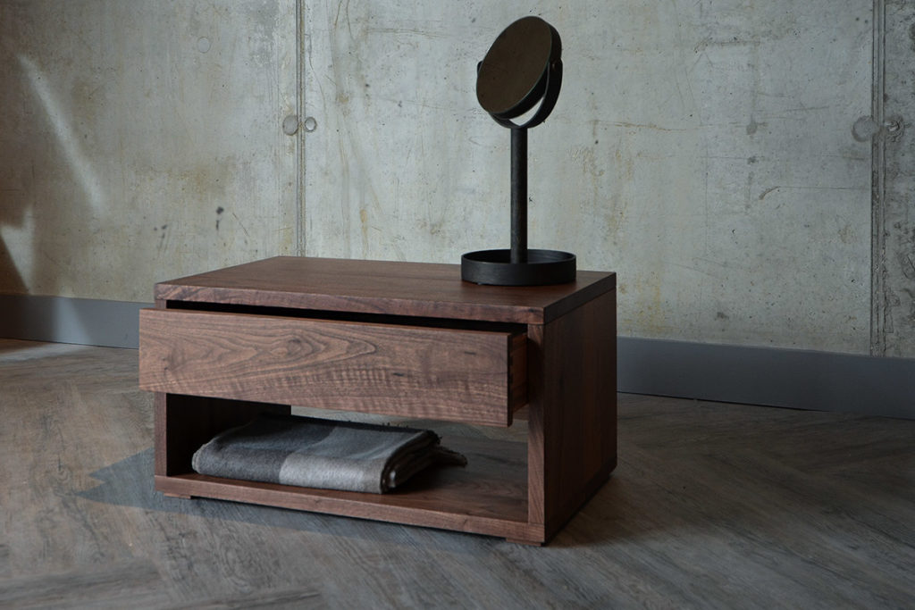 Walnut 1 Drawer Bedside with mirror and throw