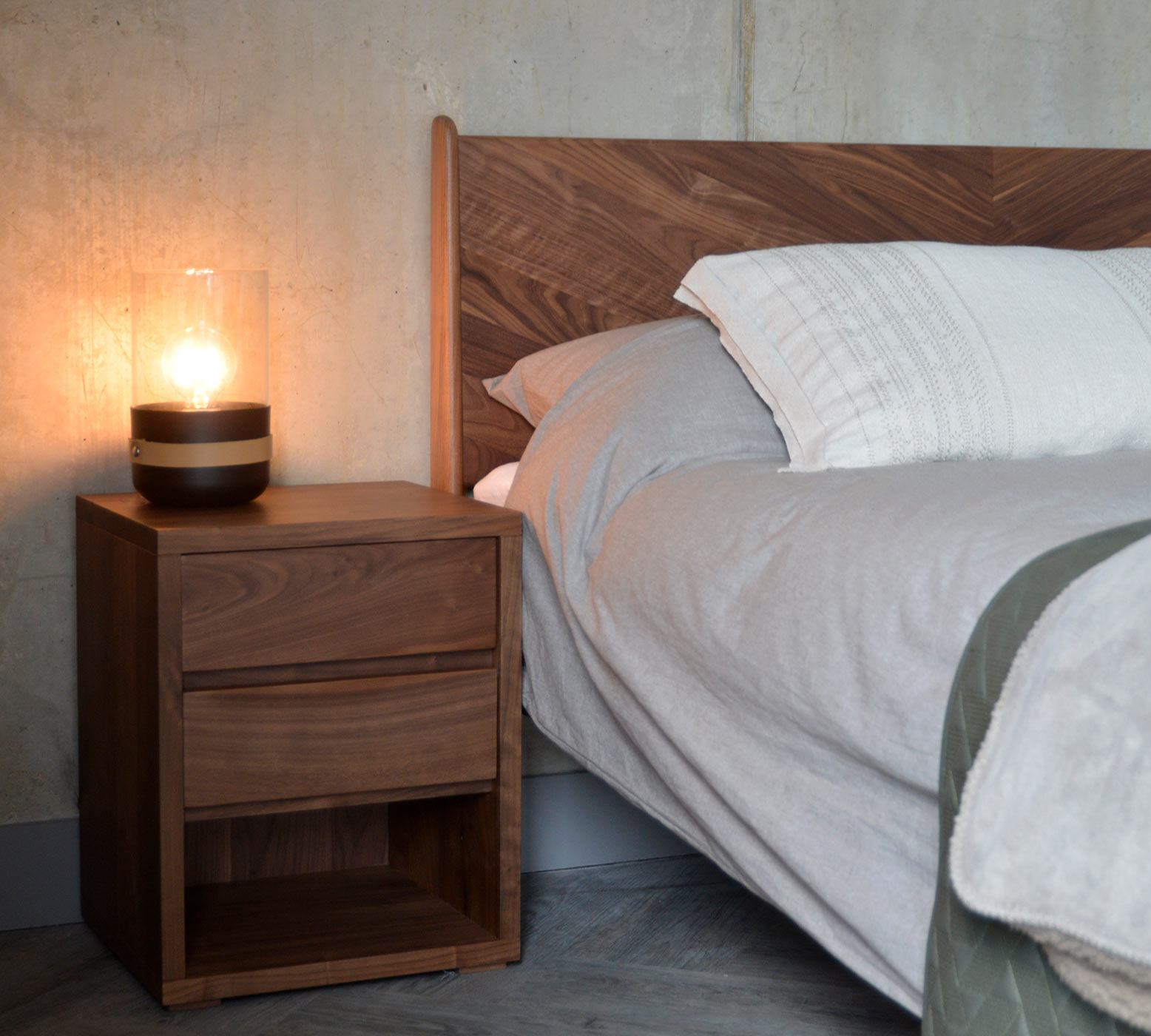 Cube Bedside table with 2 drawers in Walnut to match our Walnut Hoxton Bed