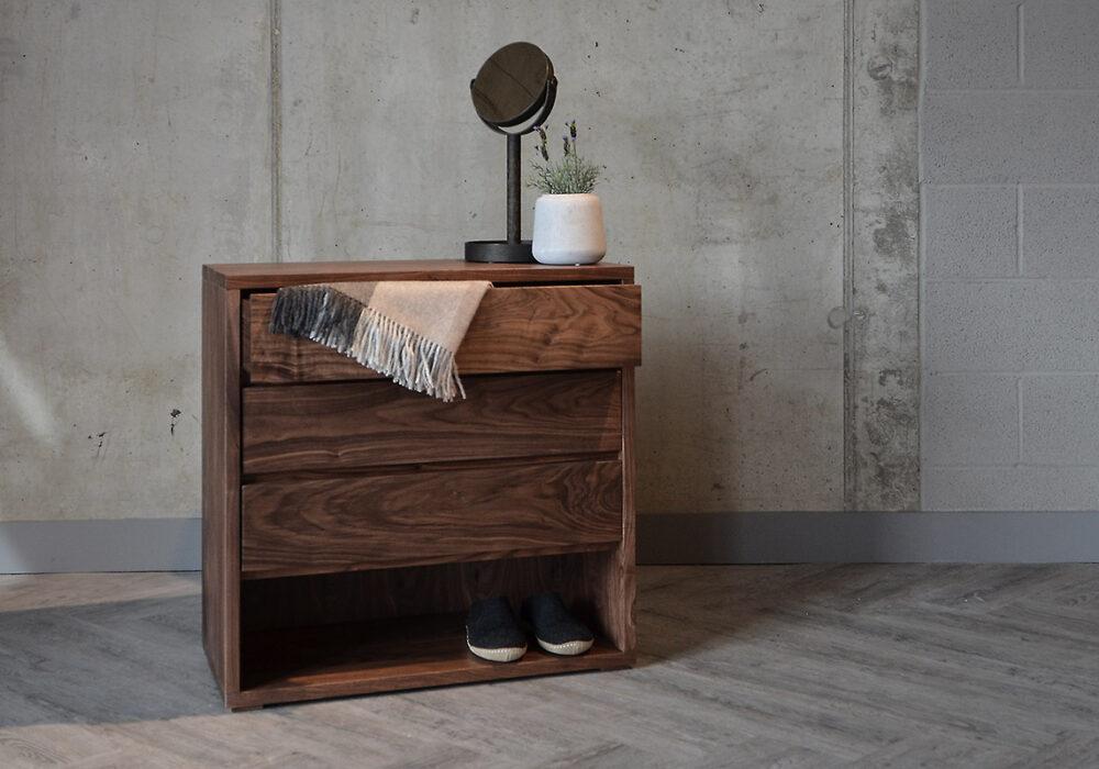 Cube 3 drawer chest in walnut
