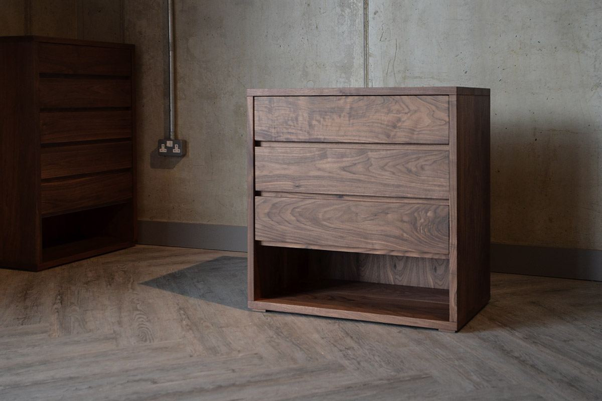 Black Lotus Cube Solid Walnut Chest Of Drawers
