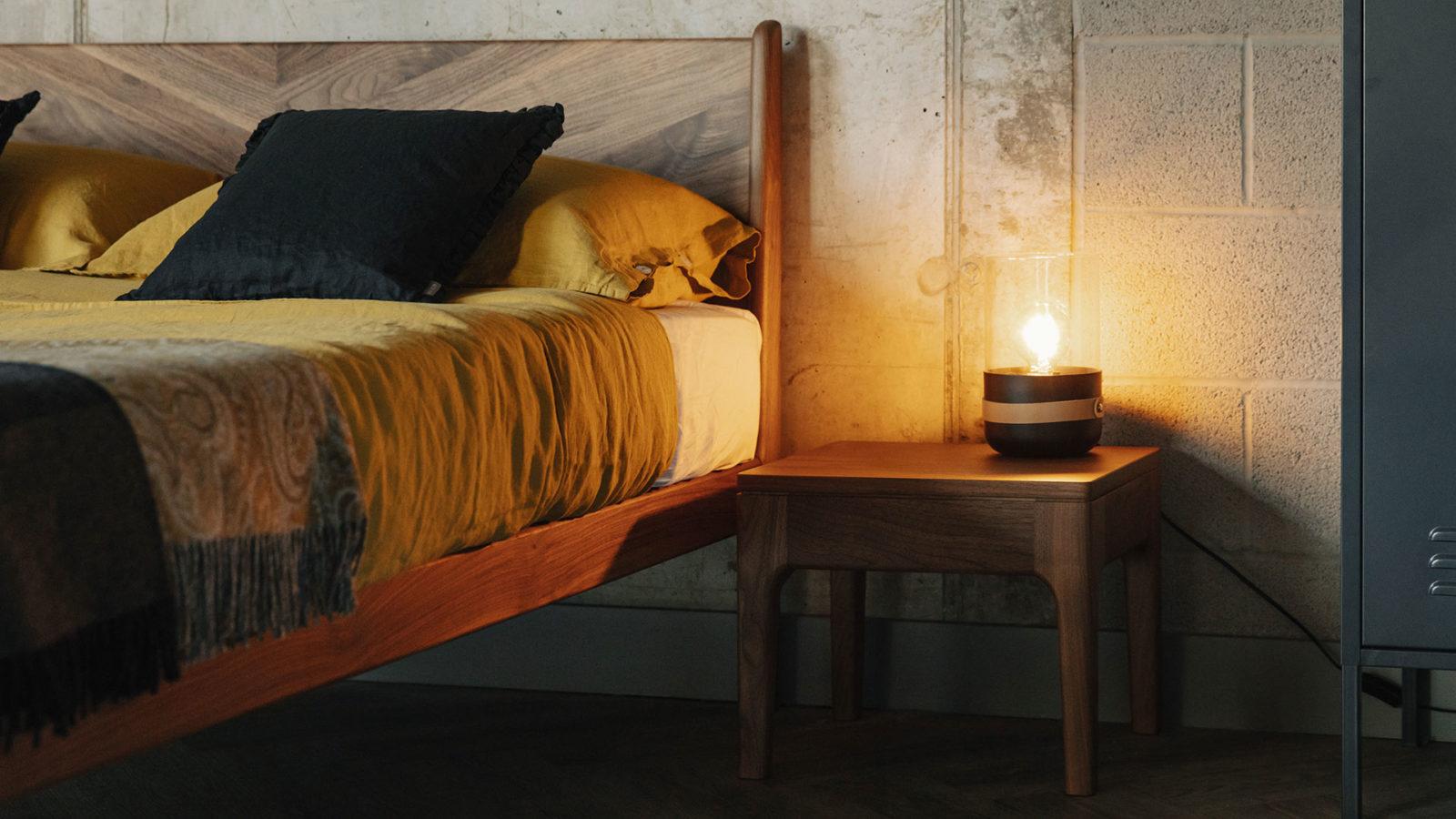 walnut bedside table