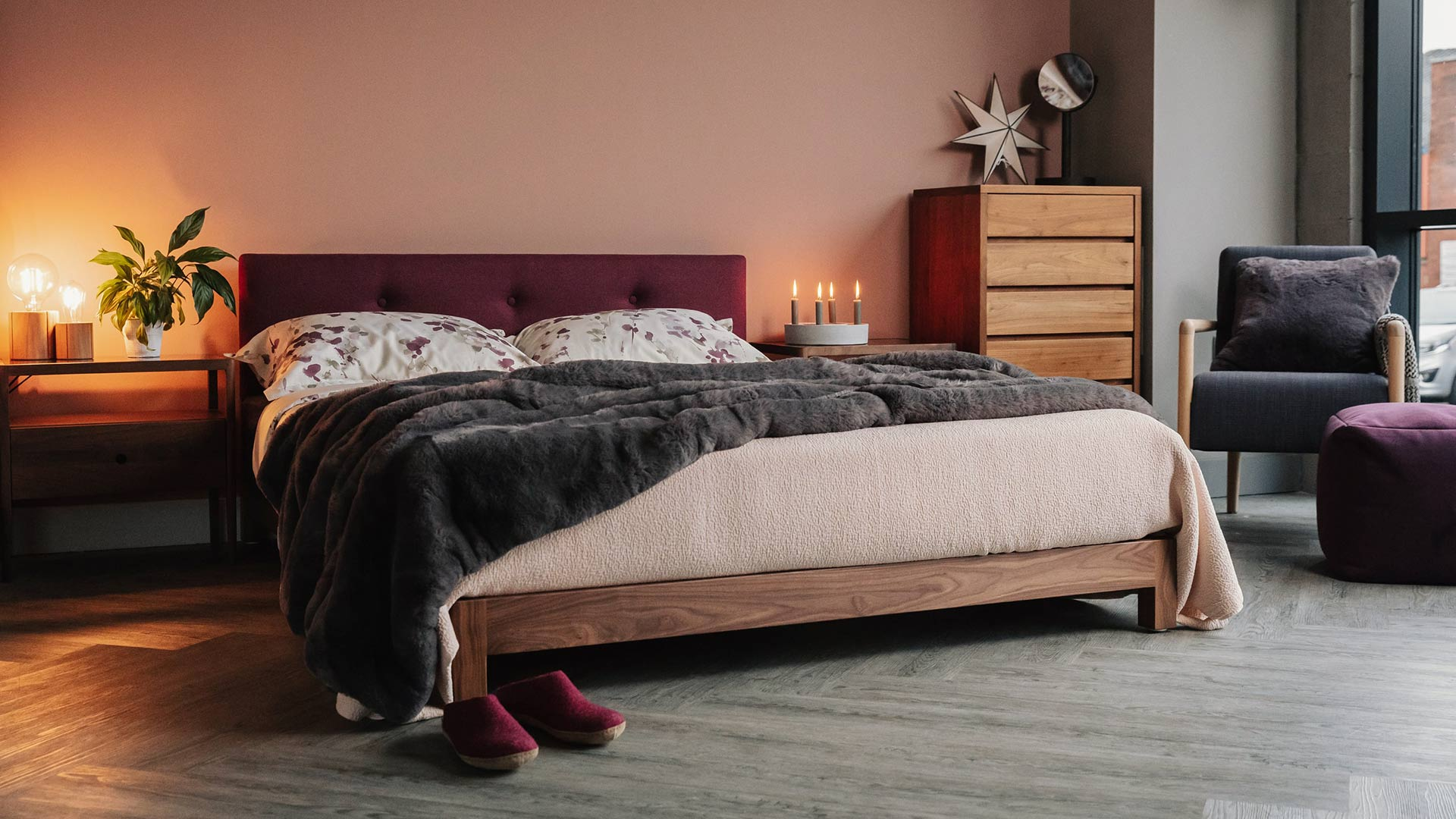 Iona Low Bed With Buttoned Headboard Natural Bed Company