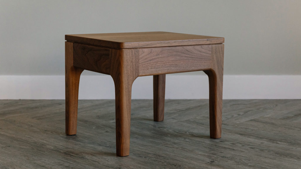 Hand crafted Camden wooden side table in walnut