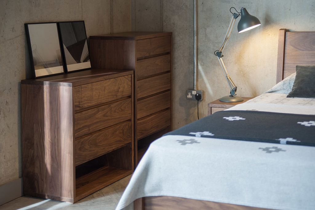 Cube collection of walnut bedroom furniture from Natural Bed Company