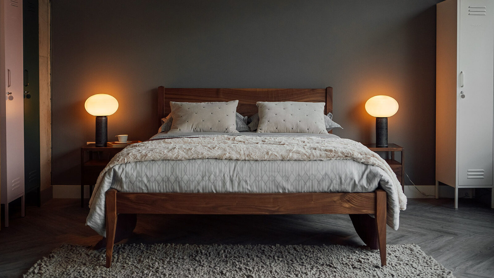 Classic taller cochin wooden bed in solid walnut