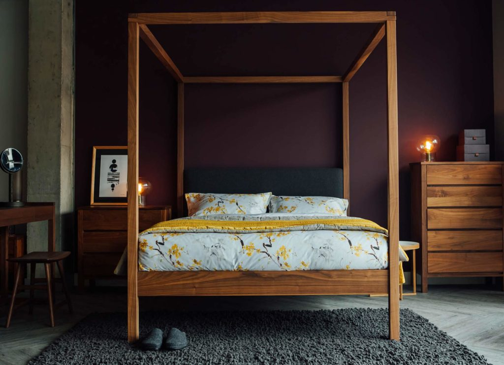 Luxurious solid wood 4 poster bed, The Highland, with wool upholstered headboard for optimal comfort