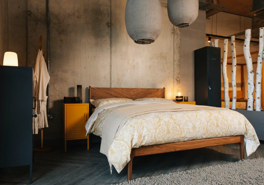 industrial bedroom look with Hoxton hand made bed