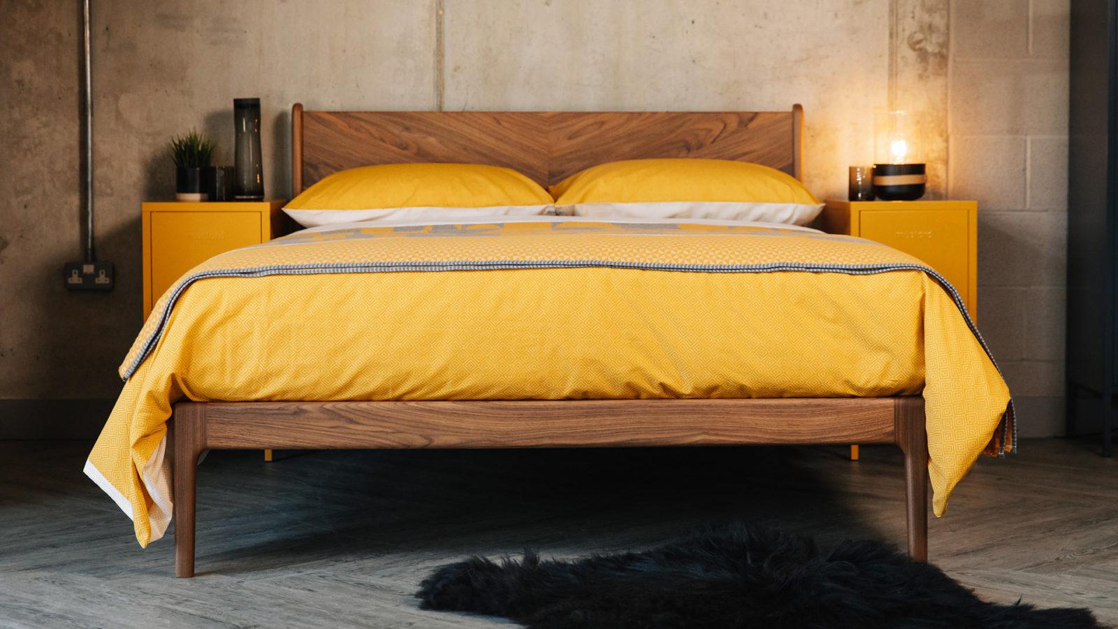 mid century style Hoxton bed in Walnut wood
