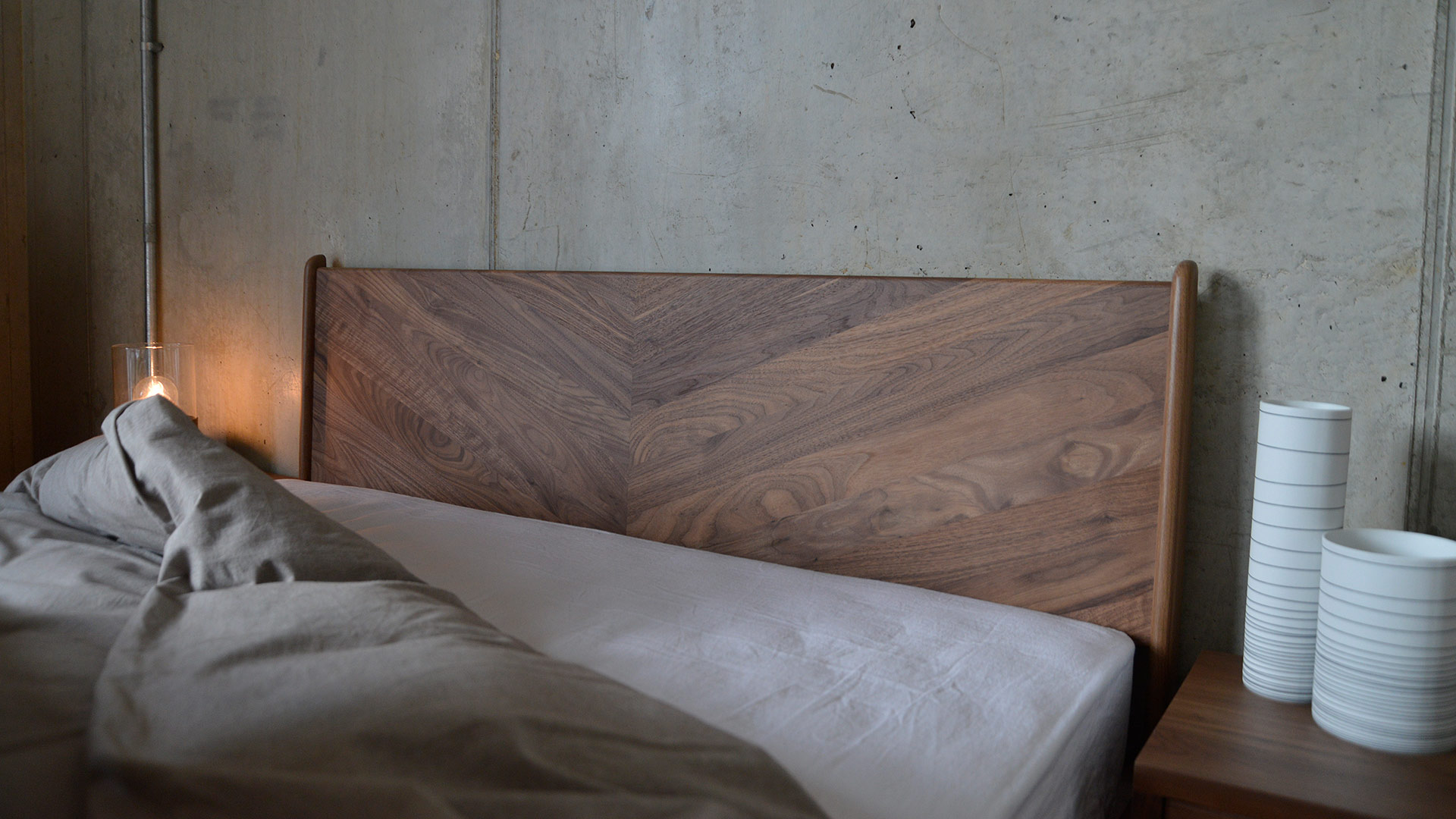 Walnut Hoxton Bed Headboard - Detail of the hand-crafted Chevron Design made from a choice of solid woods.