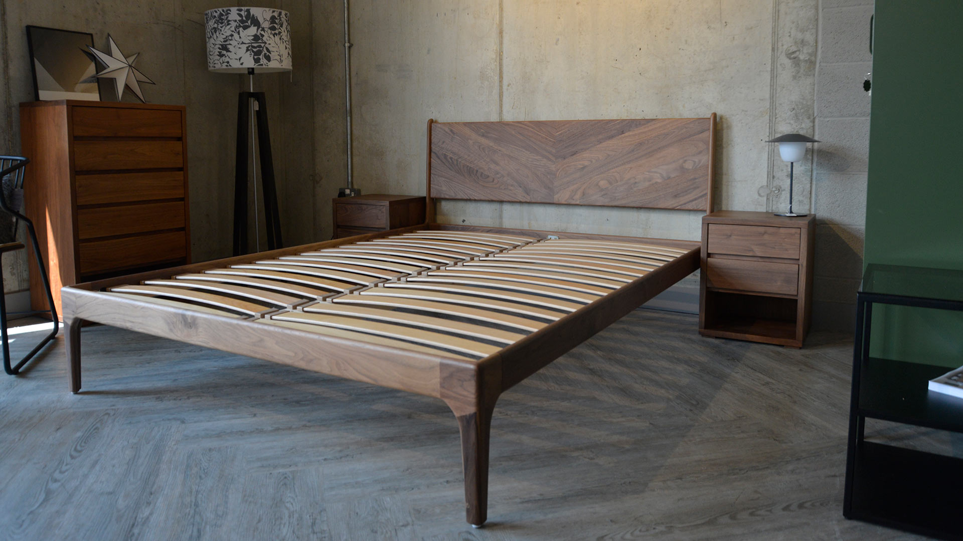 A view of the Walnut retro Hoxton bed frame without mattress and showing the sprung beech slats.
