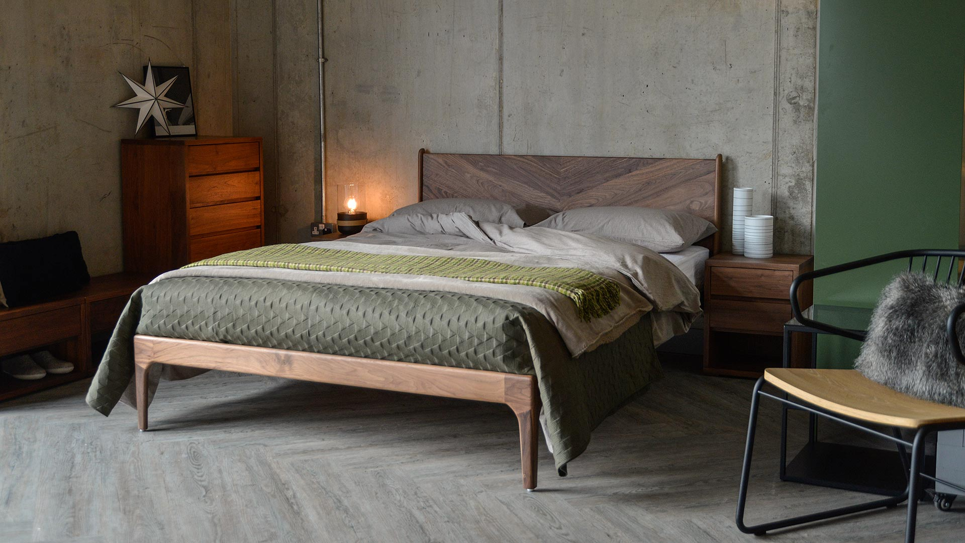 Hoxton contemporary wooden bed with striking chevron headboard and made in Walnut.