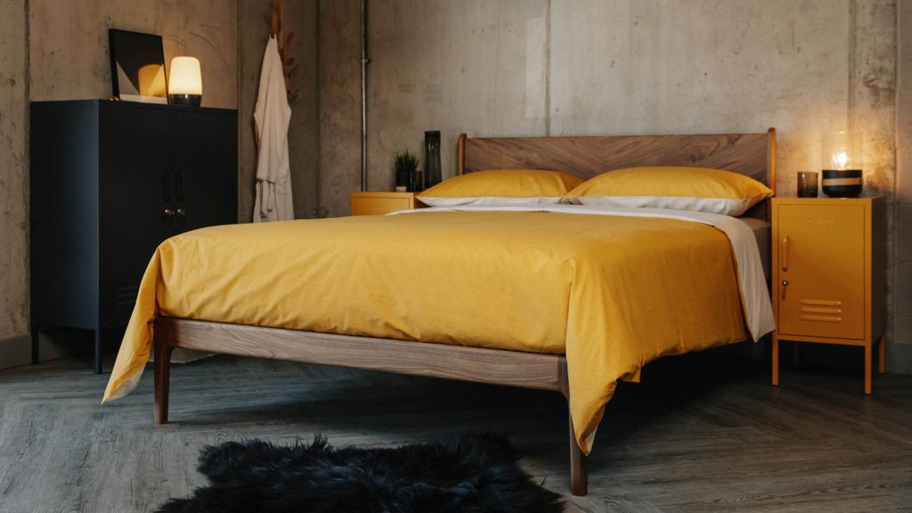 Hand crafted solid walnut Hoxton bed