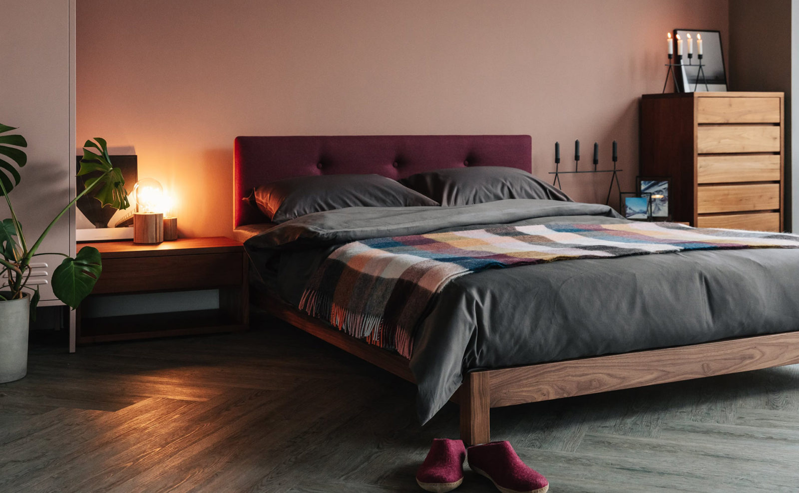 Cosy autumn bedroom setting for the upholstered wooden low Iona bed