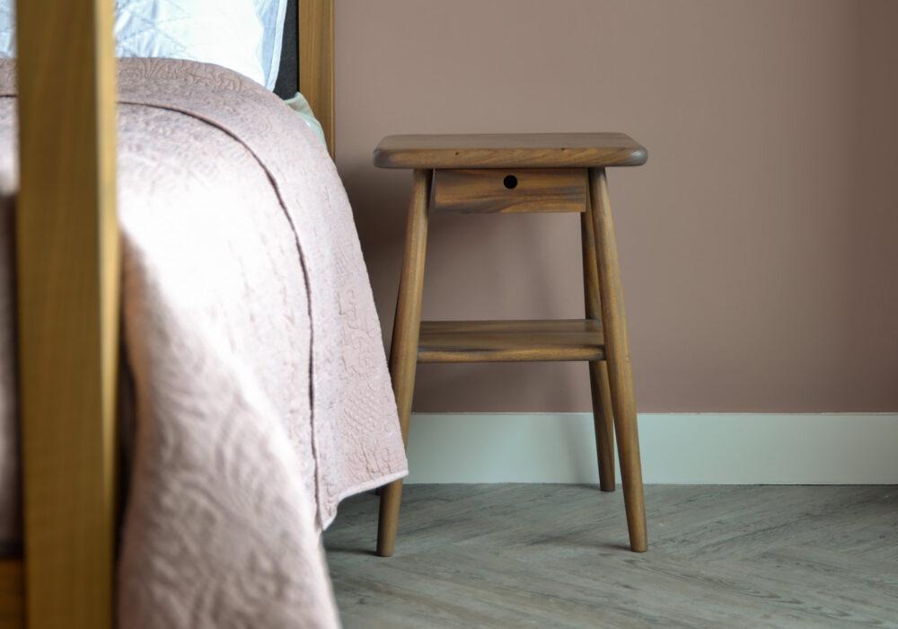 Walnut Look Side Table - mid century look bedside tables