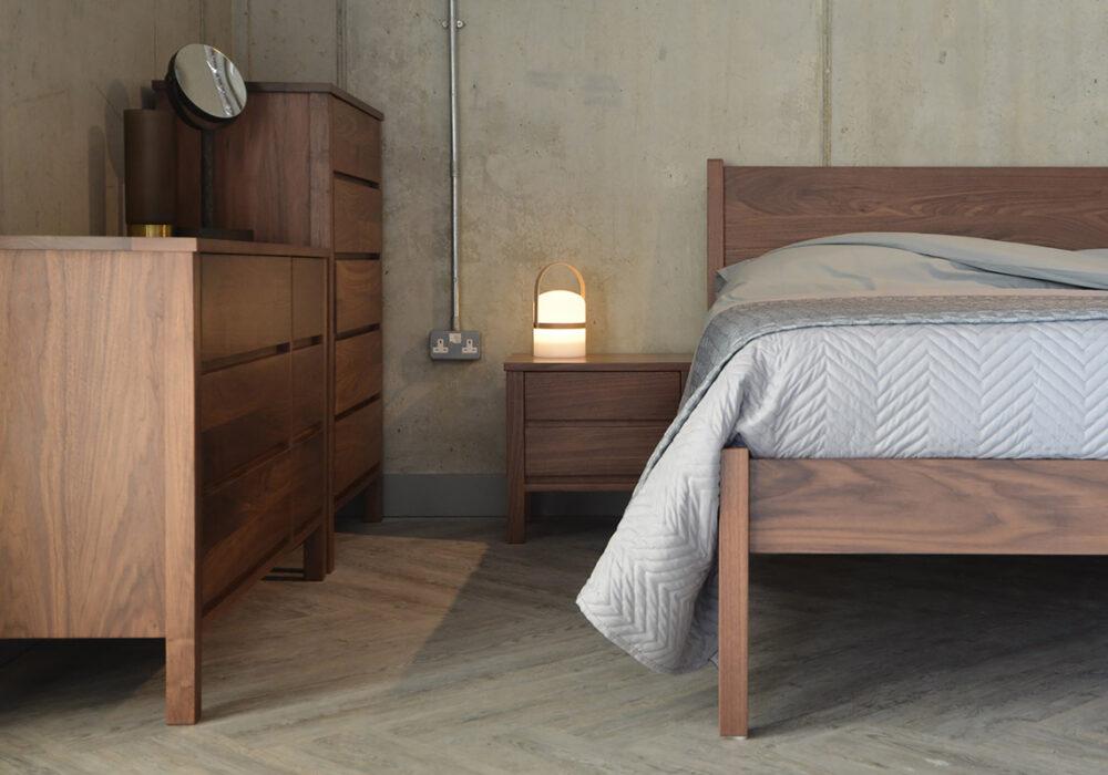Walnut Classic Zanskar bed with walnut Shaker style furniture