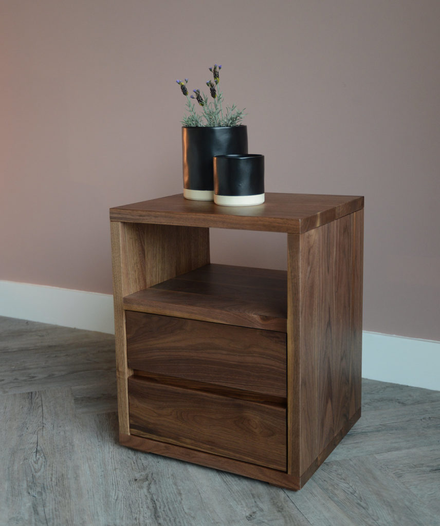walnut wood bedside table with 2 drawers and an open shelf