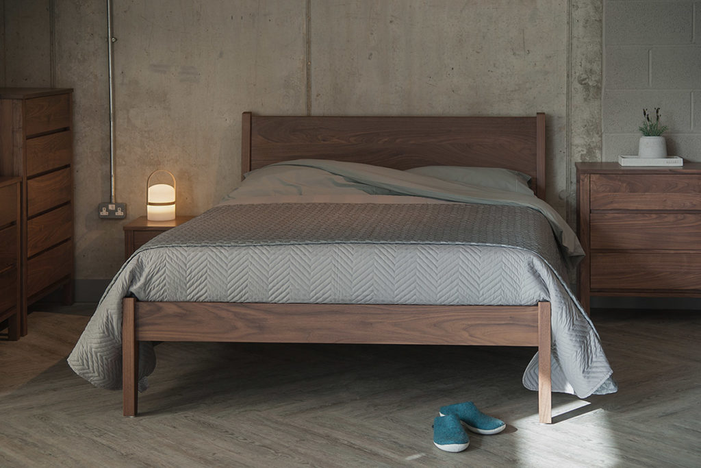 Zanskar classic wooden bed in solid walnut