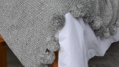 Grey Pom Pom Knitted Throw