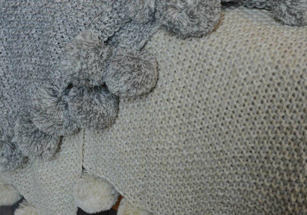 Grey & Biscuit Pom Pom Knitted Throw