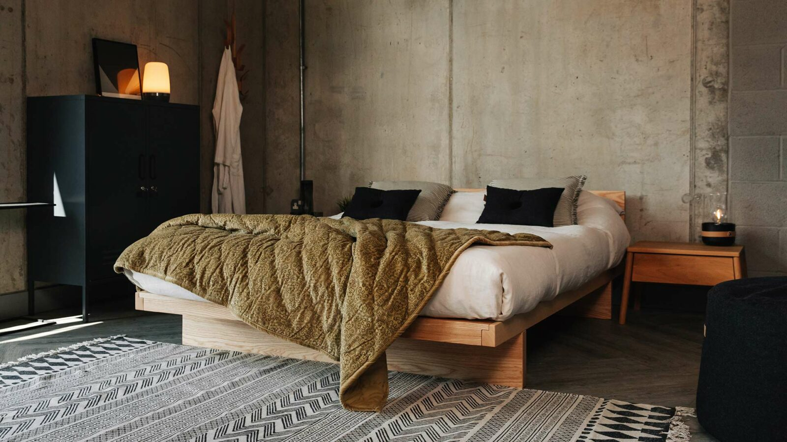 Solid Ash Kyoto Low Japanese Bed with Green Velvet Throw in Bedroom Setting