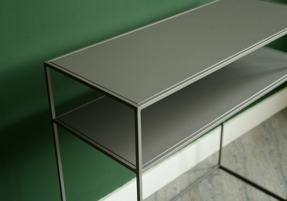 metal console table with shelf in warm grey a closer view