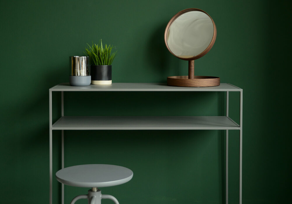 metal console table with shelf in warm grey