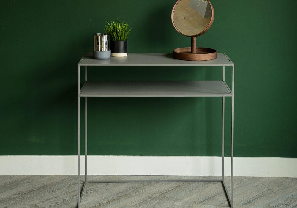 warm grey side table with shelf