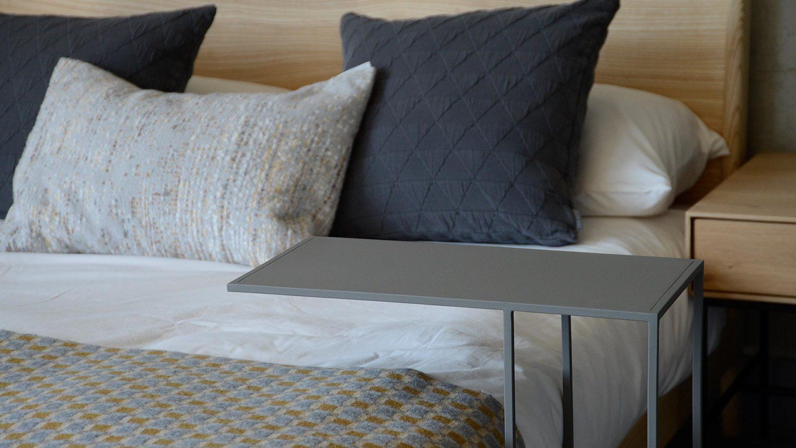 slim metal side table in mid grey