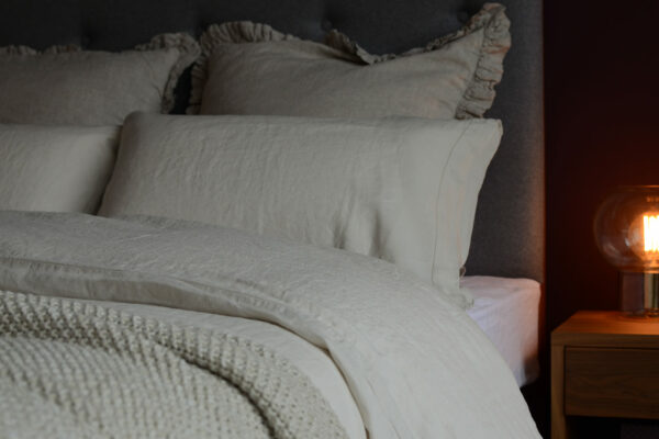 vintage wash-linen-limestone-bedding-with-also-home-linen-cushions