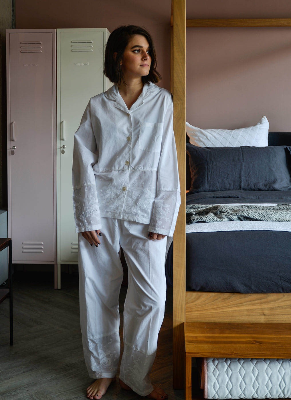 lightweight white cotton pjs with embroidered hem panels