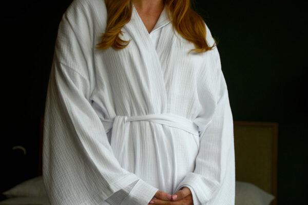 White Cotton Kimono Robe