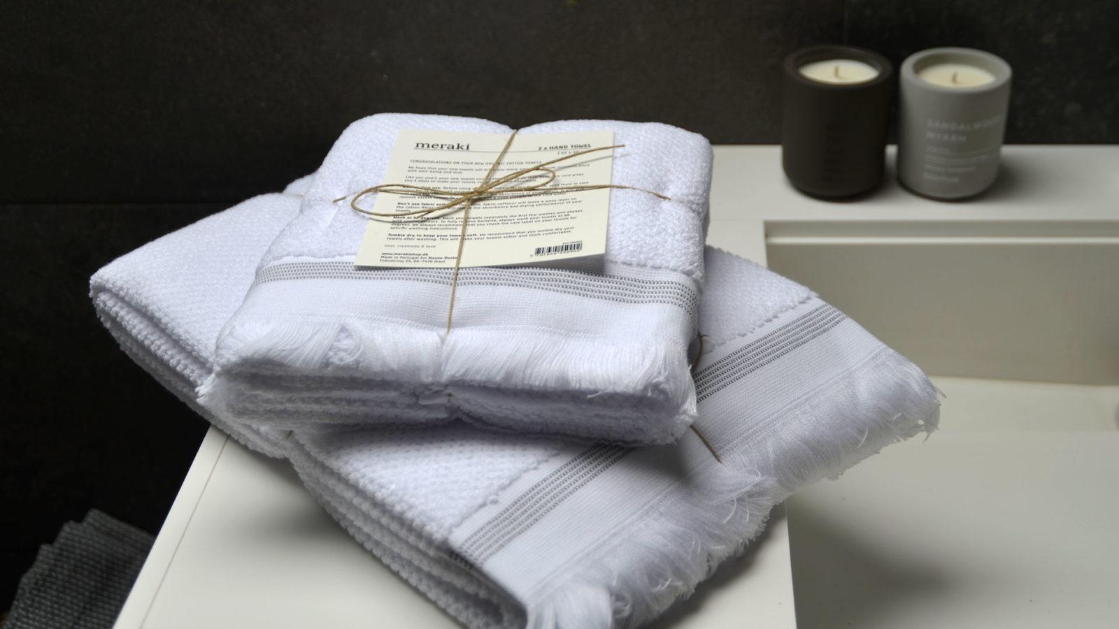 white Meraki towels