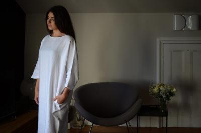 White linen slouch dress