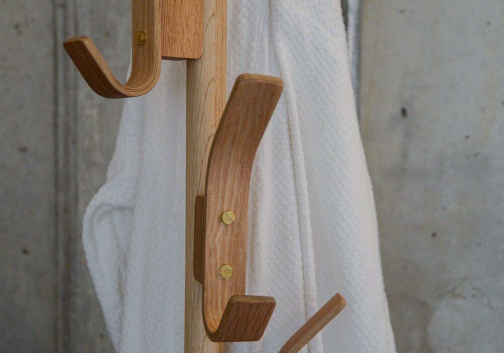 oak coat stand showing hooks