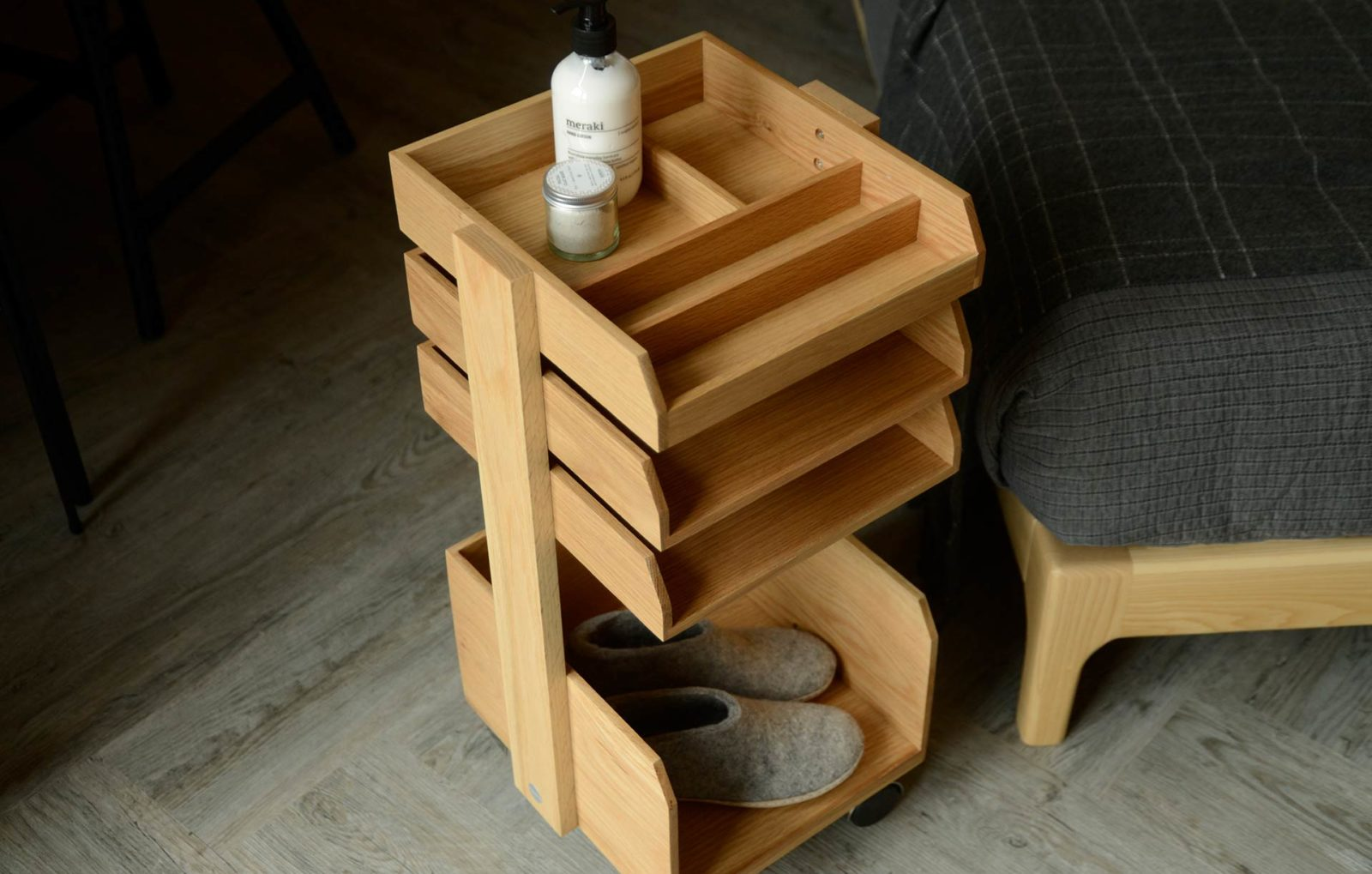 Oak storage unit on wheels