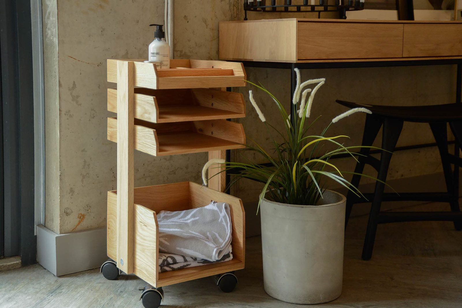 modern oak storage trolley