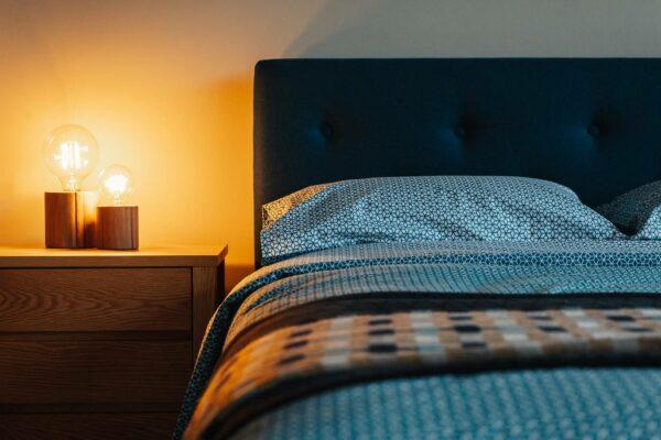 wooden bedside lights