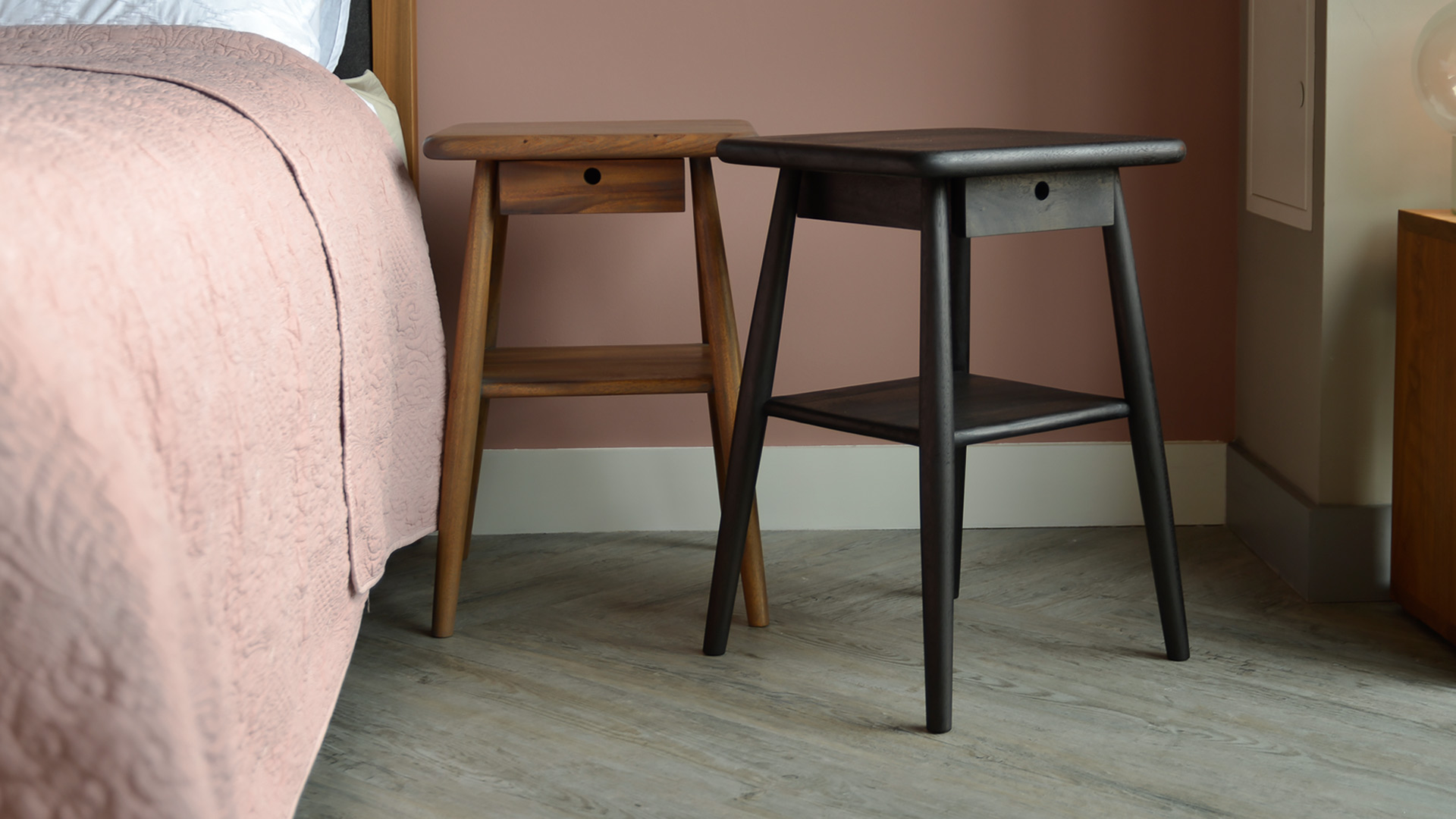 Picture of: Mid Century Look Bedside Tables Natural Bed Company