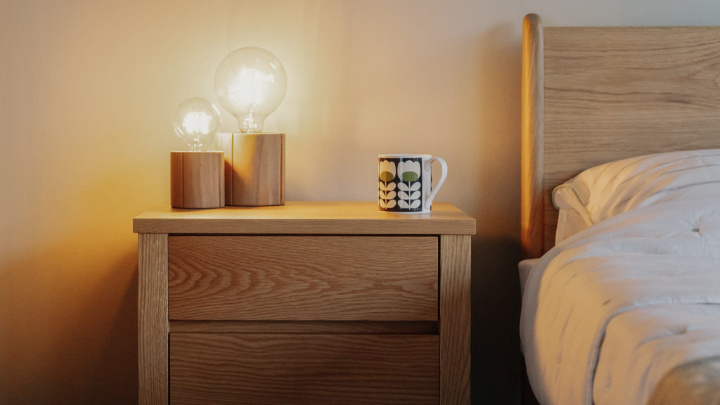 wooden bedside lamps