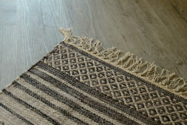 fringe detail on cotton woven boho rug